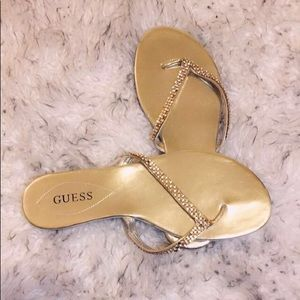 GUESS Gold Flip Flops with Silver Studded Straps